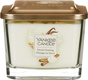 Yankee Candle Elevation Collection with Platform Lid Medium 3-Wick Square Scented Candle, Sweet Frosting