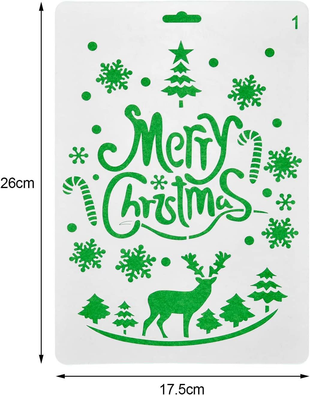 Jovitec 20 Pieces Christmas Stencils Journal Template Painting Stencil for Notebook Christmas Gift Card DIY Projects Assorted Styles