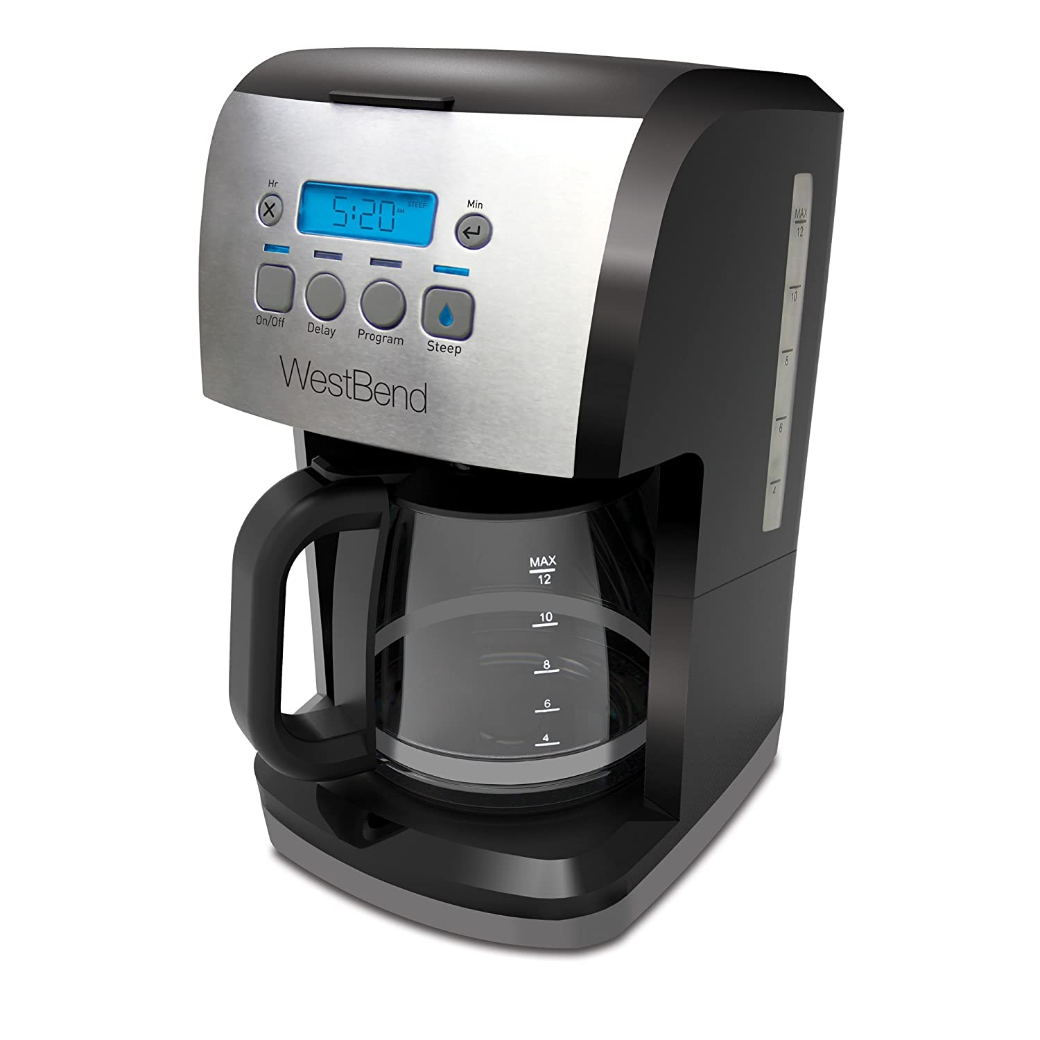 West Bend 56911 Steep & Brew Coffee Maker Features Programmable Auto Shut-Off with Bold Settings Permanent Mesh Filter and Glass Carafe, 12-Cup, Black