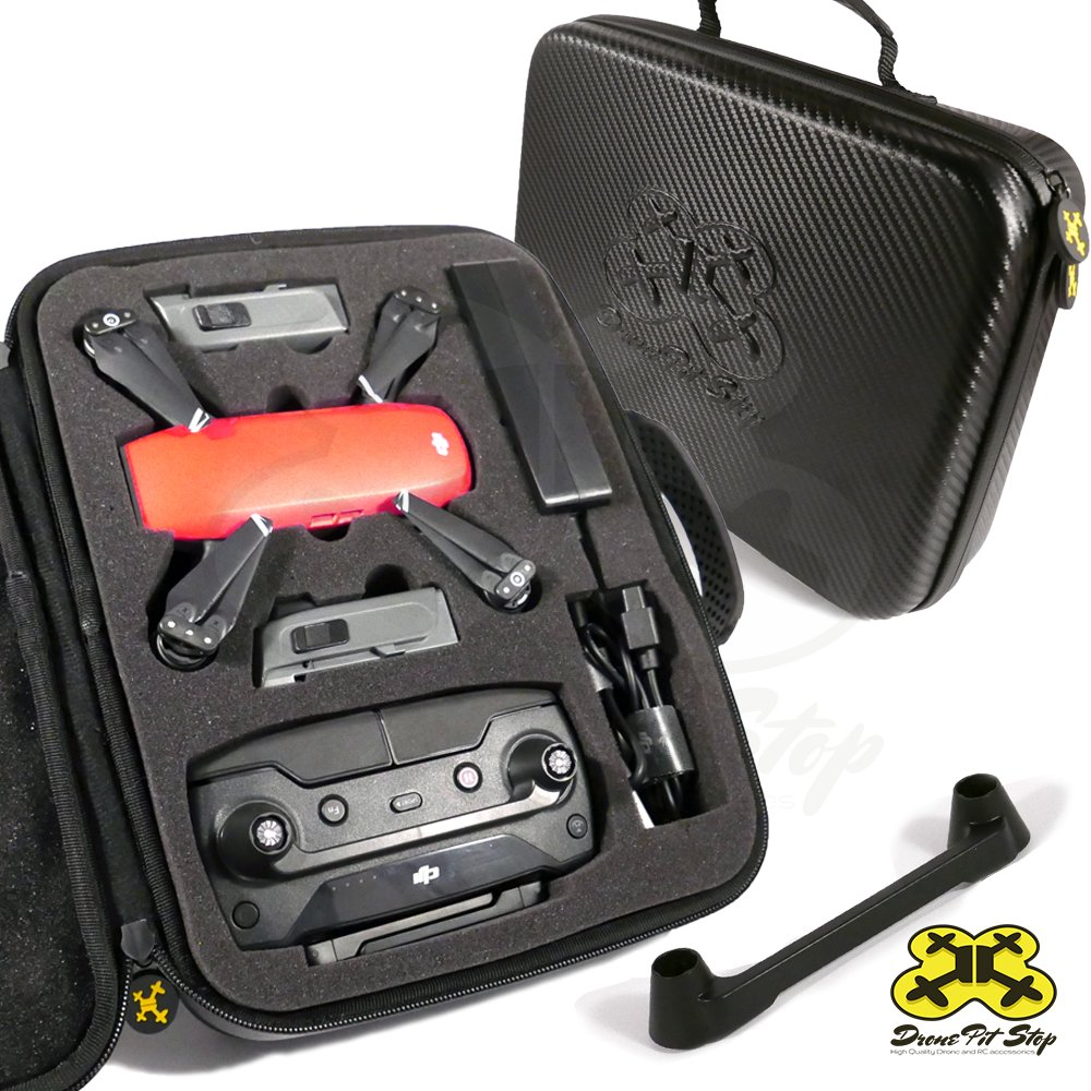 Drone Pit Stop Carrying Case for DJI Spark Slots for Extra Battery Charger and Transmitter. Splash Proof | Durable | Compact | EVA Material Maximum Protection Included Small