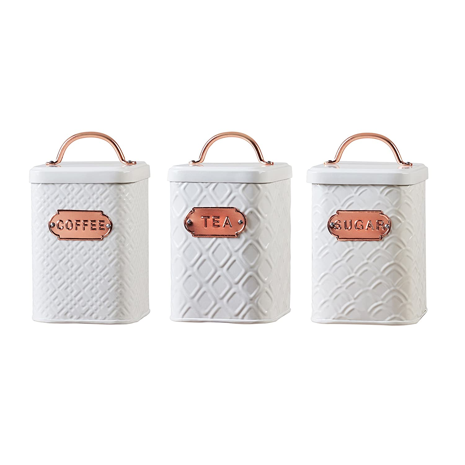 Amici Home, A5IP007AS3R, Ventana Collection Metal Storage Canisters, Food Safe, Copper Handle and Relief Label, Push Top Lid, Assorted Set of 3, 60 Ounces Global Amici