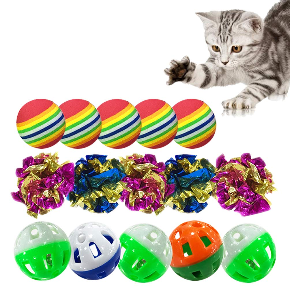 DofooU Kitten Toys Balls, Cat Toys Set Including Mylar Crinkle Balls, Rainbow Play Balls, Jingle Bell Balls for Kitty Toys (15 pcs)