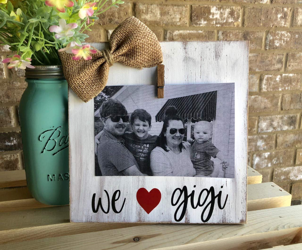 Burlap Bowtique We Love Gigi Personalized Mothers Day Gift Grandmother gift Rustic Picture Frame Vintage Shabby Chic Farmhouse Decor