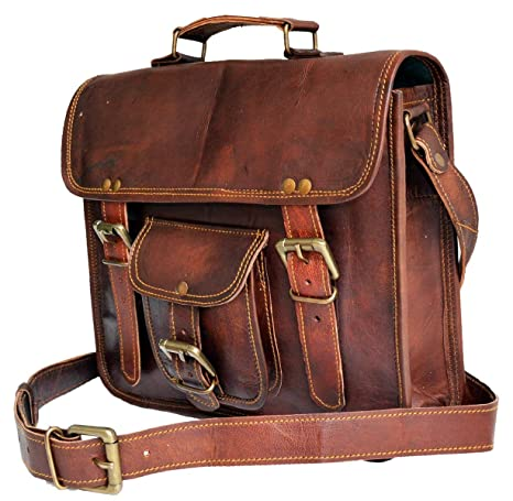 """6a4b1f12b Amazon.com: Jaald 11"""" Geniune leather messenger bag small satchel passport  bag travel pouch: Computers & Accessories"""