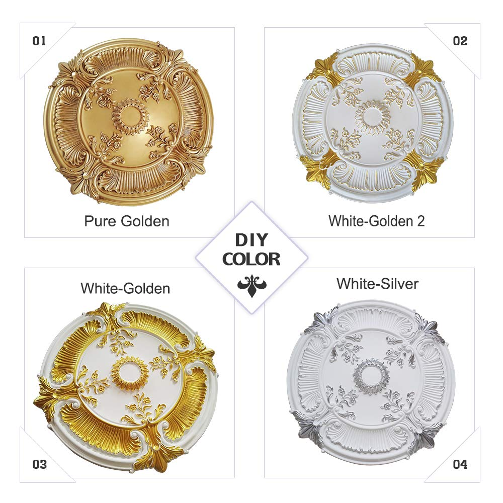 White Pu Moulding 100 Higher Density Polyethylene 18 Inch Ceiling Medallions For Chandeliers Light Ceiling Medallion For Ceiling Fans 18 Od X 2 Id X 1 1 2 P Lighting Ceiling Fans