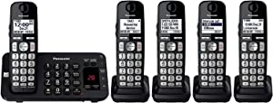 Panasonic KX-TGE445B / KX-TG3645B Cordless Phone with Answering Machine- 5 Handsets (Renewed)