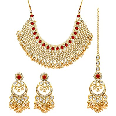 Buy Maitreya Wonder Maroon Color Imitation Pear Kundan Necklace with