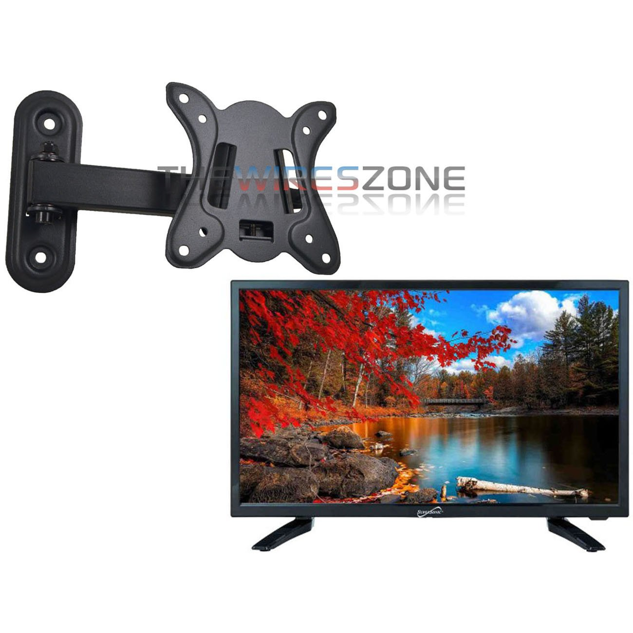 Supersonic SC-2411 24'' LED 1080p 12 Volt AC/DC HDMI Widescreen HDTV + Wall Mount by Supersonic