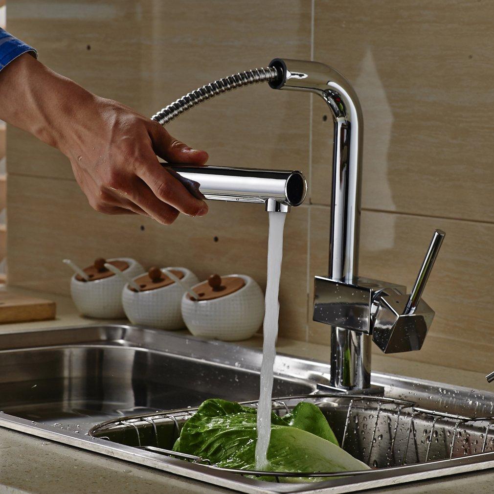 Auralum® grifo cocina extensible para la cocina,plateado: Amazon.es ...