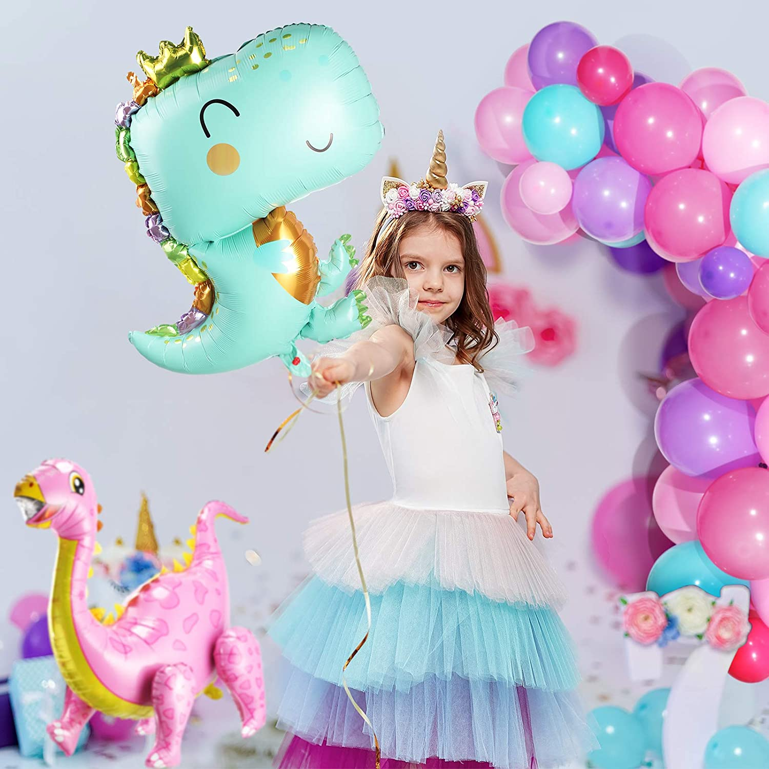 104 Pieces Dinosaur Party Decorations Jungle Themed Dinosaur Balloon Garland Kit with Foil Dinosaur Standing Balloons for Boys Girls Dinosaur Birthday Party Supplies
