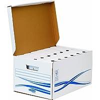 Fellowes 4460504 Bundle Basic 1 Conteneur Maxi et 6 Boites d'Archives Dos de 8 cm Banker Box Blanc/Bleu
