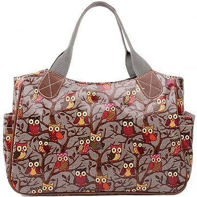 Women Ladies Oilcloth Shoulder Carry Shopper Bag Tote shopper Handbag owls print