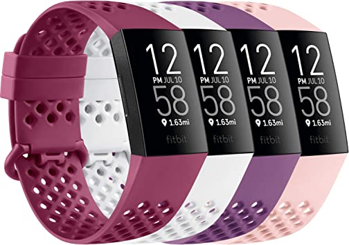 Imagen deAK Pack 4 compatible con Fitbit Charge 3 Strap/Fitbit Charge 4 correas, respirable agujero de aire de silicona reemplazo deportivo pulsera para Fitbit Charge 3 Charge 4