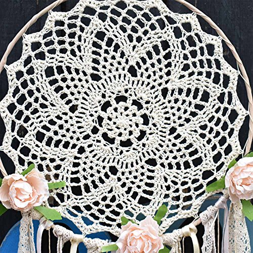 "EasyBravo Large Boho Dream Catcher with Glitter Gold Feather Macrame Wall Hanging for Vintage Wedding Home Decorations 27.6"" Long"