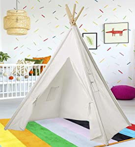 Teepee Tent for Kids | White Kids Teepee Tent | Tipi Tents Indoor Outdoor | Play Tent 5 Feet Tall - 4 Poles | Customizable Cotton Blend Tent | Large Childrens Teepee Tents for Girls and Boys Kids
