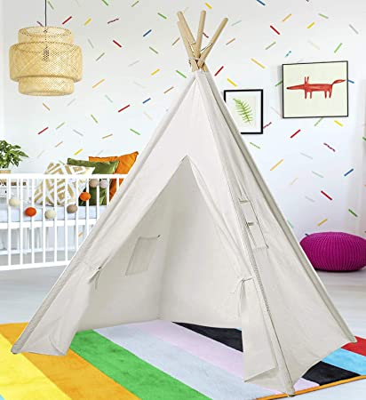 san francisco e9e02 33fc3 Teepee Tent for Kids | White Kids Teepee Tent | Tipi Tents Indoor Outdoor |  Play Tent 5 Feet Tall - 4 Poles | Customizable Cotton Blend Tent | Large ...