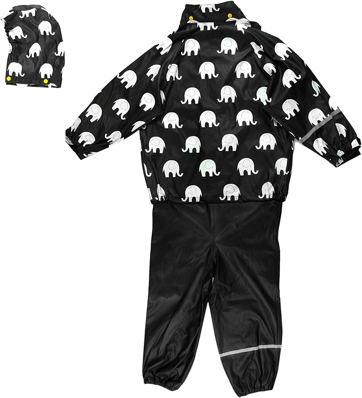 Gr/ö/ße: 120 Farbe: Schwarz und Gelb 1372 Alter 6-7 Jahre Jacke und Hose Celavi Kinder Unisex Regen Anzug mit Elefanten Aufdruck