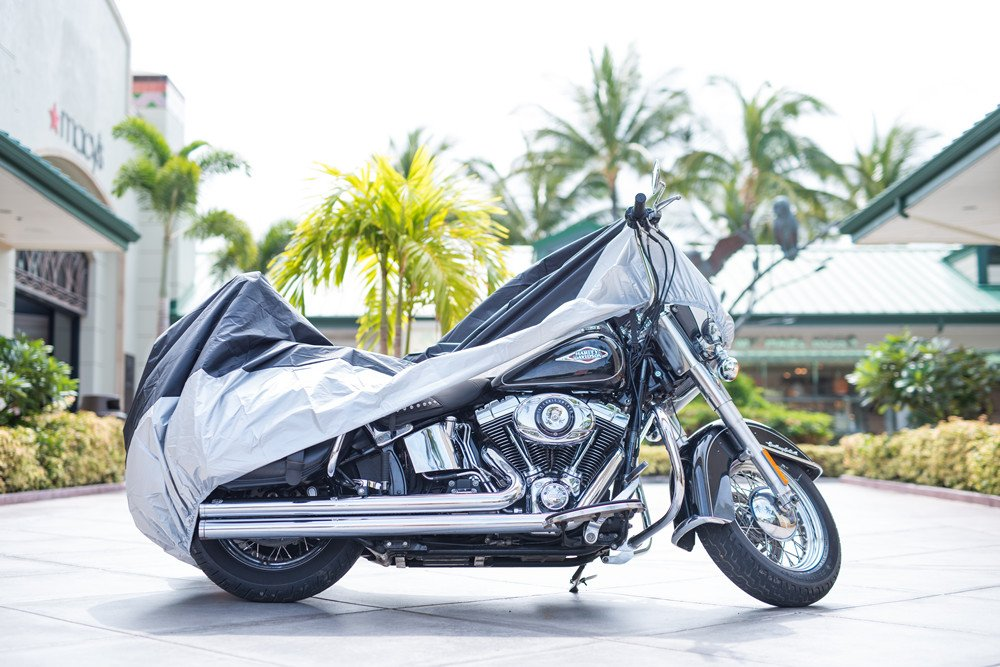 XYZCTEM All Season Black Waterproof Sun Motorcycle Cover,Fits up to 108'' Motors (XX Large & Lockholes) by XYZCTEM (Image #3)
