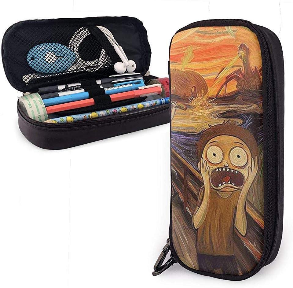 Estilo de pintura al óleo Monster Scream Horror Cute Pen Estuche de lápices Cuero Gran capacidad Cremalleras dobles Bolso de lápiz Bolsa: Amazon.es: Oficina y papelería