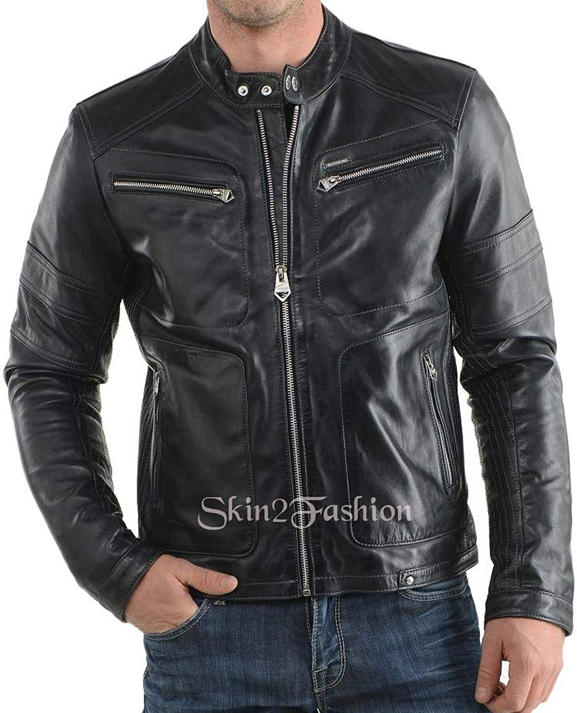Mens Leather Jackets Motorcycle Bomber Biker Genuine Lambskin 193