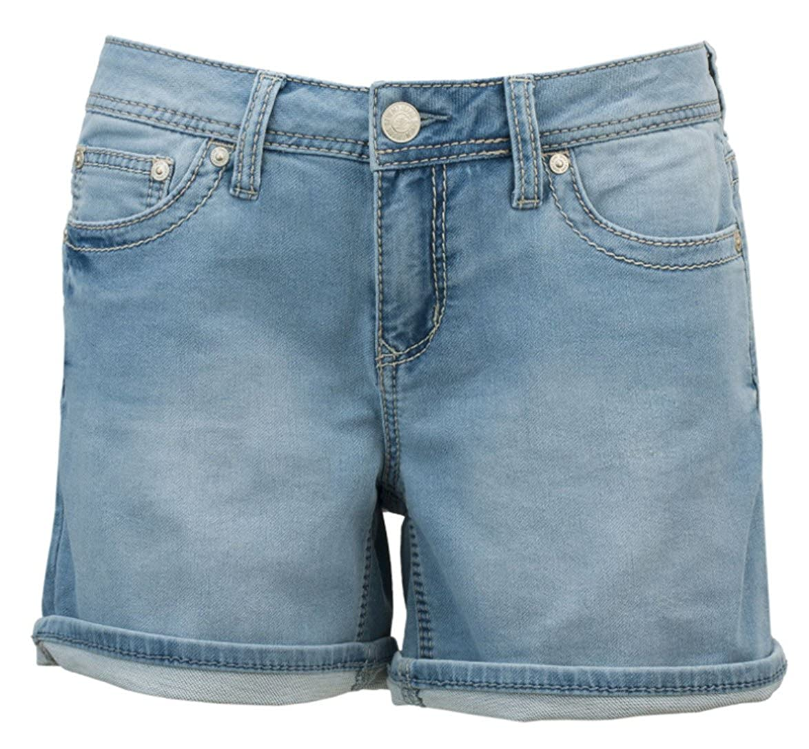 0217f92361 Seven7 Women's Cuffed 5 Inch Denim Short with Embroidered E Loop Pockets at  Amazon Women's Clothing store: