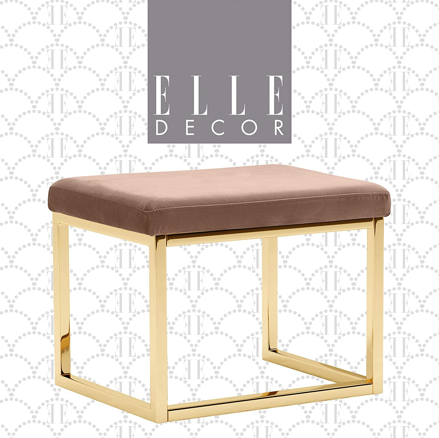 Elle Decor Giselle Upholstered Vanity Stool, Modern Elegant Square Ottoman with Gold Plated Metal Legs, Easy Assembly Accent Furniture, Brown