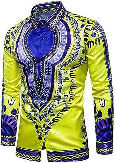 Camisa de Solapa Impresa Africana Tradicional de los Hombres Camisetas de Manga Larga Camisetas sin Mangas del Festival: Amazon.es: Ropa y accesorios