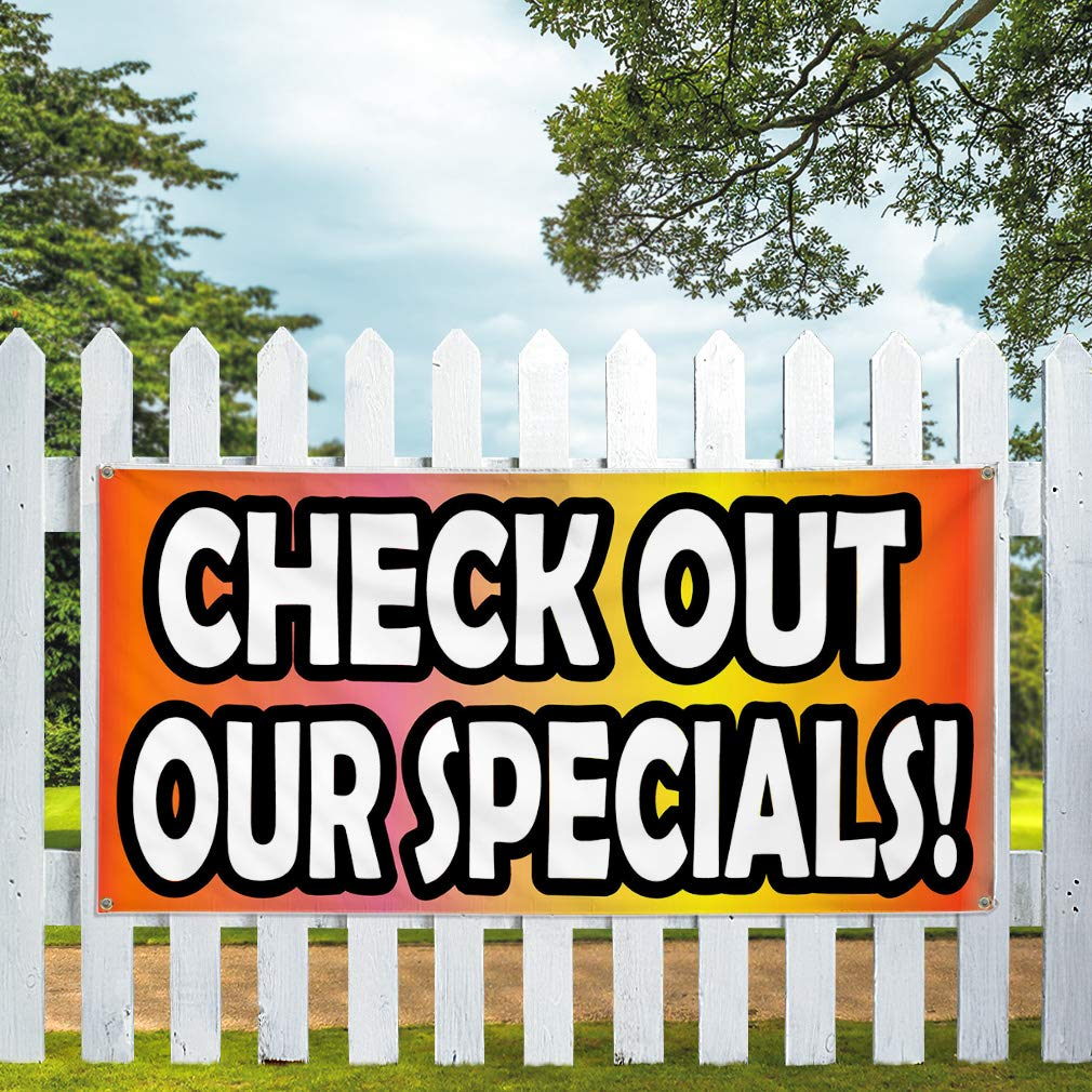 Set of 2 6 Grommets Vinyl Banner Sign Check Out Our Specials OrangeWhite Marketing Advertising Orange Multiple Sizes Available 32inx80in