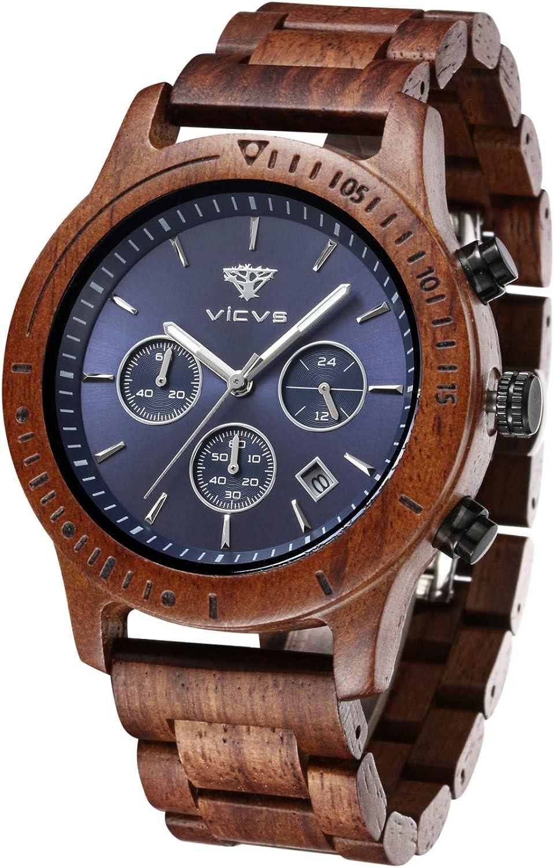 Reloj de Madera VICVS para Hombre, sándalo japonés, multifunción, Rojo/Negro Natural con cronógrafo Deportivo Militar (Sandalwood): Amazon.es: Relojes
