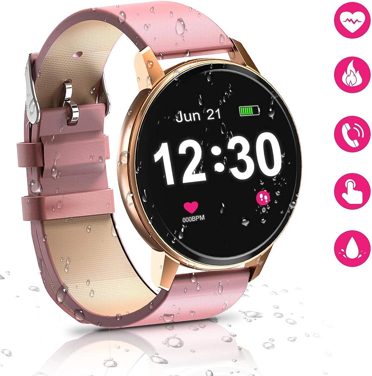 Reloj Inteligente Bluetooth para Mujeres, IP68 a Prueba de Agua con Pantalla táctil Completa de, Monitor de Ritmo cardíaco, podómetro de Seguimiento de Actividad para Android e iOS