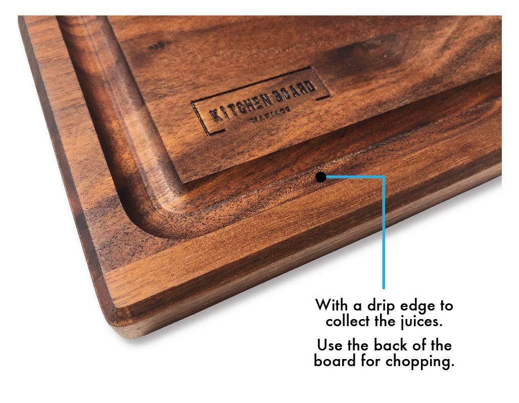 Walnut Wooden Cutting Board by Kitchen Board Maniacs - 16 x 10 1/2 Walnut Wood Cutting Board and Butcher Block Counter top with Juice Drip Groove by Kitchen Board Maniacs (Image #8)