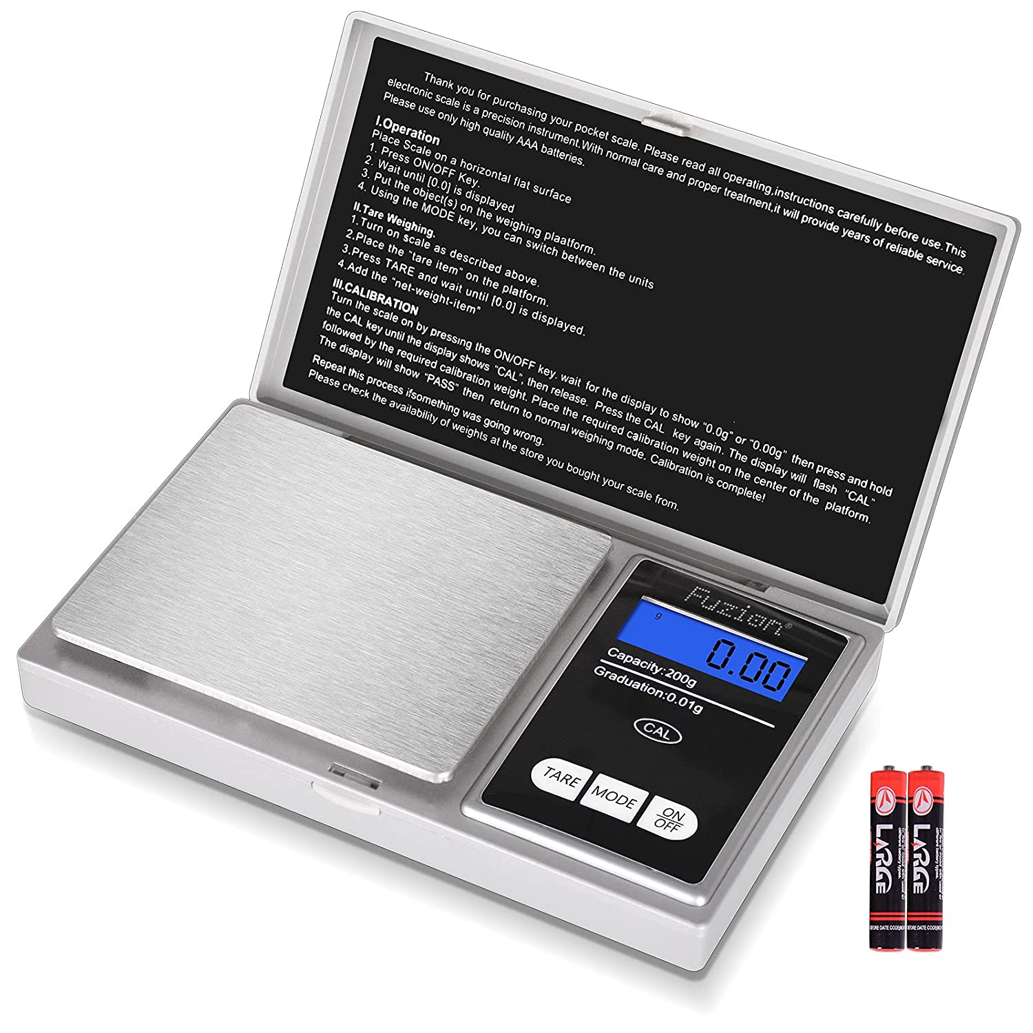 Fuzion Digital Gram Scale, 200g/0.01g Mini Jewelry Scale, Herb Scale Gram and Ounce, Portable Travel Food Scale with LCD Display, Stainless Steel, Tare, Battery Included