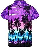 V.H.O Funky Hawaiian Shirt Men Shortsleeve Frontpocket Hawaiian-Print Beach Party Flowers