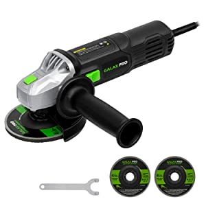 Angle Grinder, GALAX PRO 6 Amp Grinder Tool with 2pcs 4-1/2 Wheels(Cutting Wheel and Grinding Wheel), Side Handle, for Removing Paint & Mortar, Sanding, Cutting, Grinding