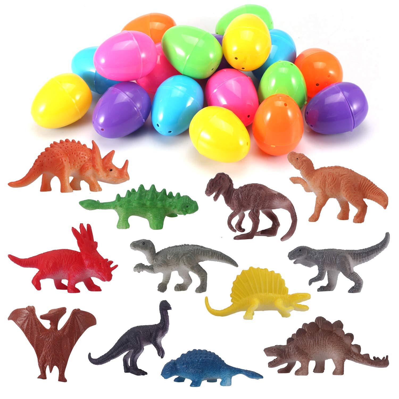 Easter Eggs Fillers Mini Dinosaur Toys 24 Pack Dinosaur Figures for Easter Eggs Fillers Easter Basket Stocking Stuffers Party Favors For Kids EIAIA