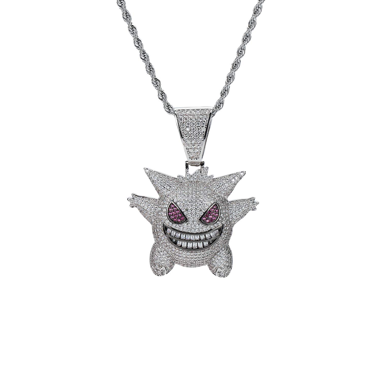 MTCLFTOO Hip Hop Gengar Pendant Jewelry Unisex Iced Out Necklace with Rope Chain+Mala Beads Bracelet Gift for Men Women-(Silver)
