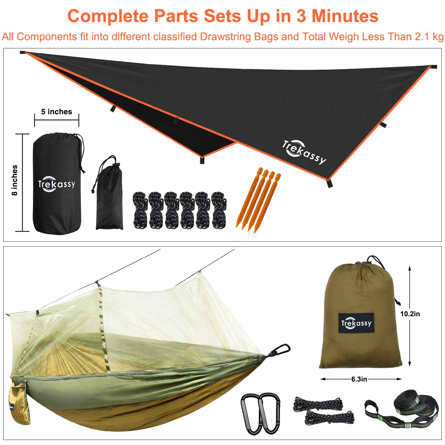 Trekassy 118 x 78 Portable Double Camping Hammock with Removable Mosquito Bug Net, Rain Fly and Tree Straps for Indoor, Outdoor, Backpacking, Travel, Beach, Hiking