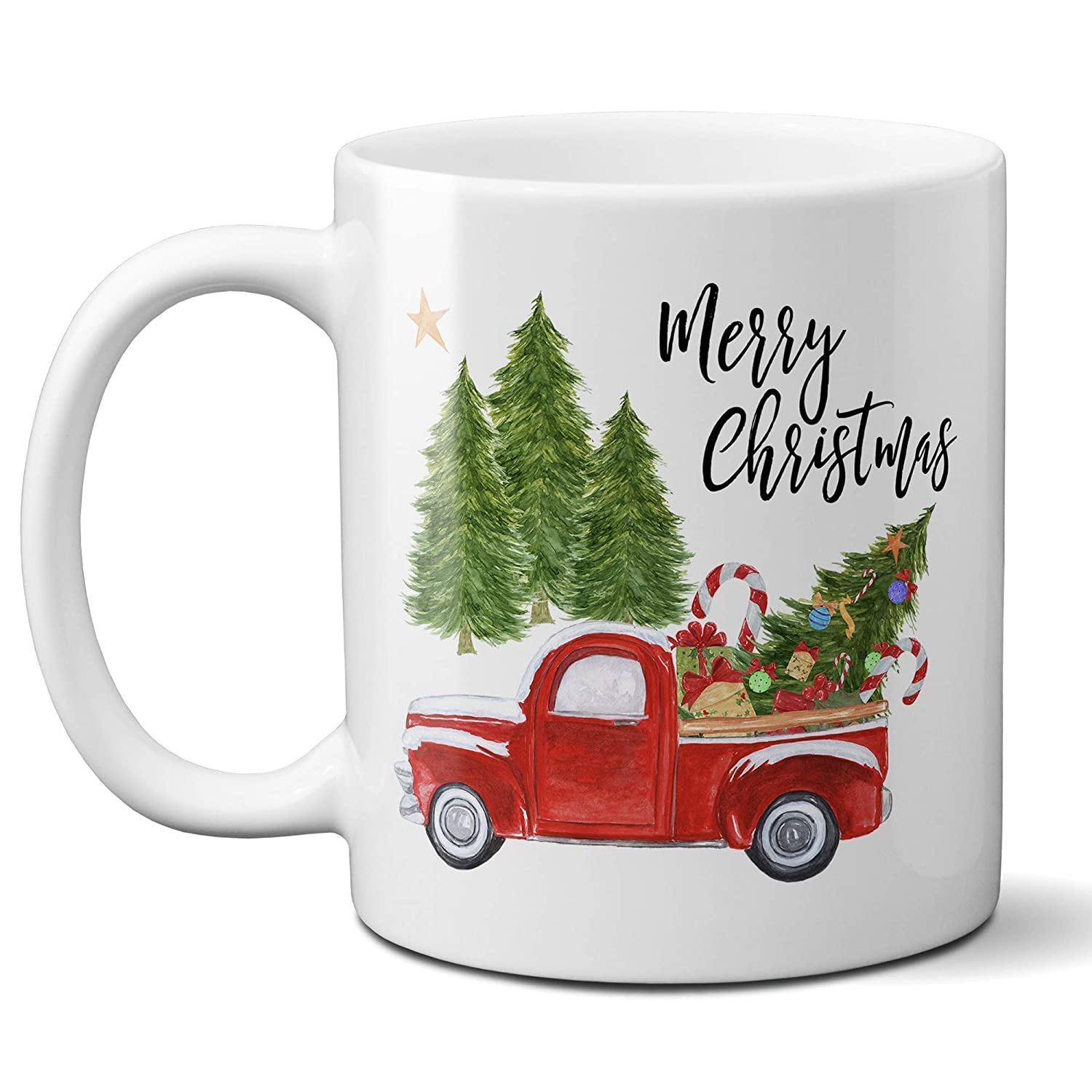 Amazon Com Merry Christmas Coffee Mug With Vintage Red Truck And Christmas Tree Ceramic Cup 11 Ounce Or 15 Ounce Handmade
