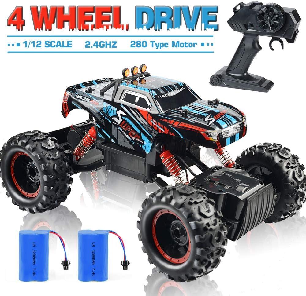 NQD Remote Control Truck, RC Car 1: 12 Scale RC Truck 2.4Ghz Radio Remote Control Car 4WD Off Road for Boys (Black)