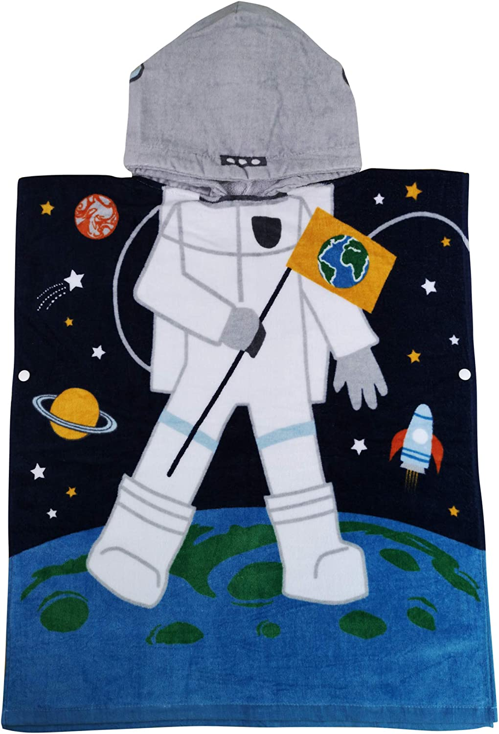 Athaelay Cotton Beach Towel for Age 2-7 Years Boy/Girl Toddlers and Kids, Multi-use for Bath/Shower/Pool/Swim, Hooded Poncho Bathrobe, Astronaut Theme