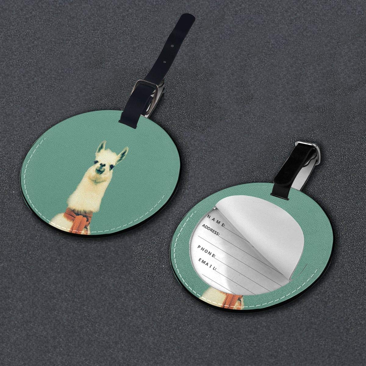Simoner Funny Llama Round PU Leahter Luggage Tags Privacy Protection Travel Bag Labels Suitcase Tags