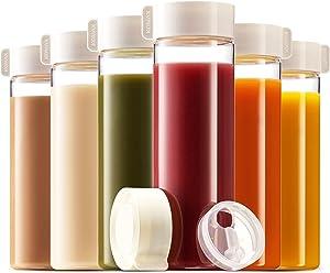 Komax Juice Bottles 18.5-oz | Set-of-6 Reusable Juice & Smoothie Bottles | Premium BPA-Free Plastic, Shatterproof, Leakproof, Freezer & Dishwasher Safe | Wide Mouth Juice & Smoothie Containers