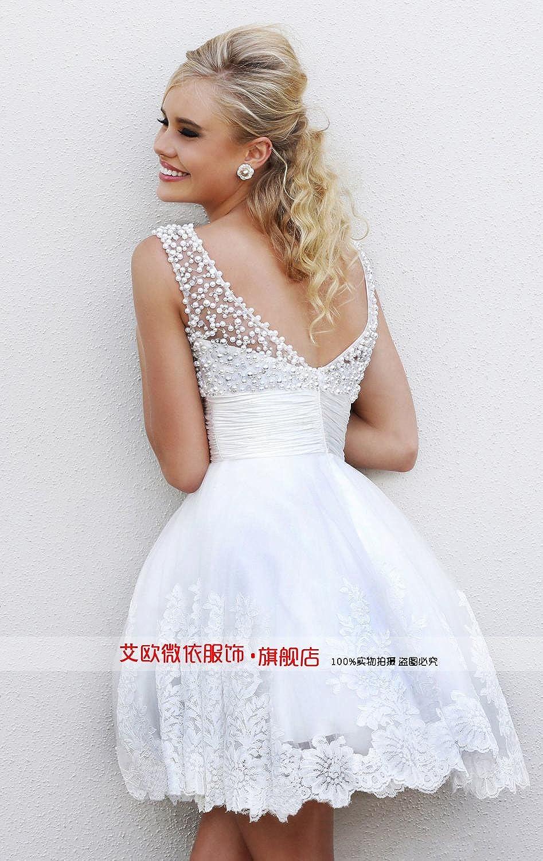 wt48 short WHITE BEADING Wedding Birde dress chiffon full length prom gown size 12: Amazon.co.uk: Clothing