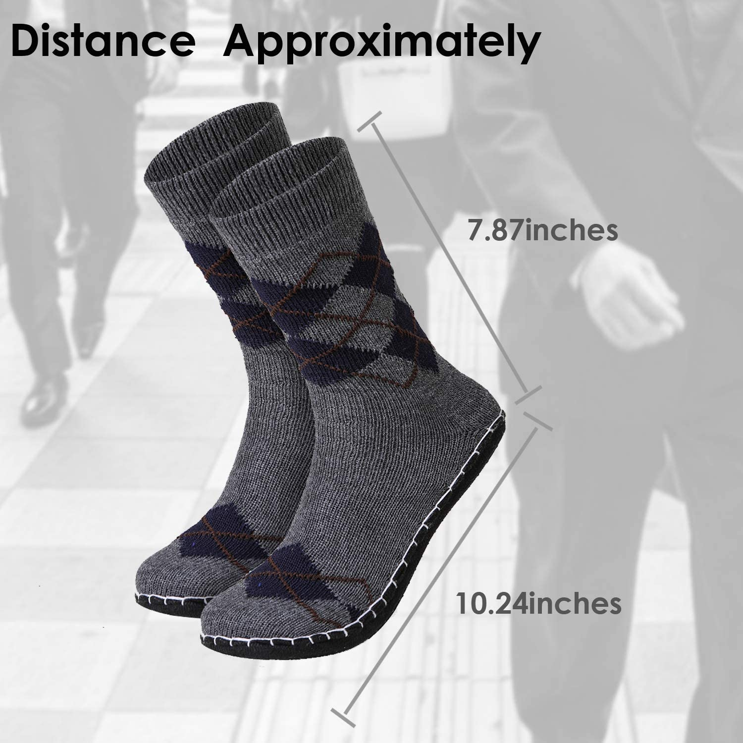 Mens Winter Knitted Non-Skid Home Warm Slipper Socks Indoor Floor Stocking House Shoes