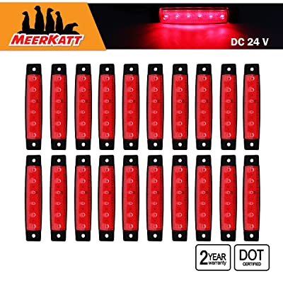 Meerkatt 20 Pcs Red 6 LED Side Marker Decoration Indicator Rear Fender Tail Brake Stop Lights Car Trailer Truck Bus Lorry HGV Boat Marine 3.8 Inch Clearance Surface Mount 24V DC Small Lamp Waterproof: Automotive