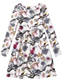 Mallimoda Girl's Long Sleeve Cotton Linen Floral Print Party Princess Dress