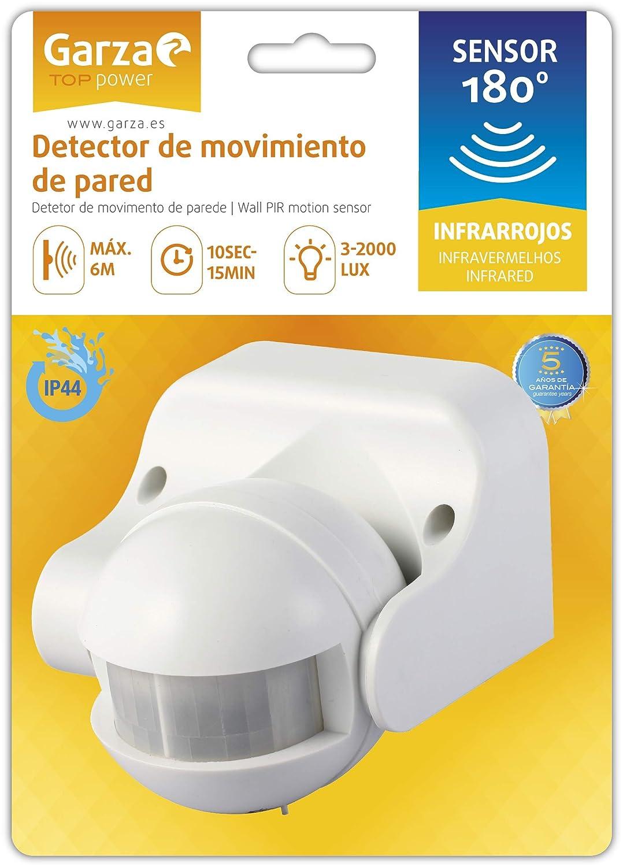 Garza Power - Detector de Movimiento Infrarrojo de Pared, Ángulo de Detección 180º, protección IP44 (exterior), Blanco: Amazon.es: Bricolaje y herramientas