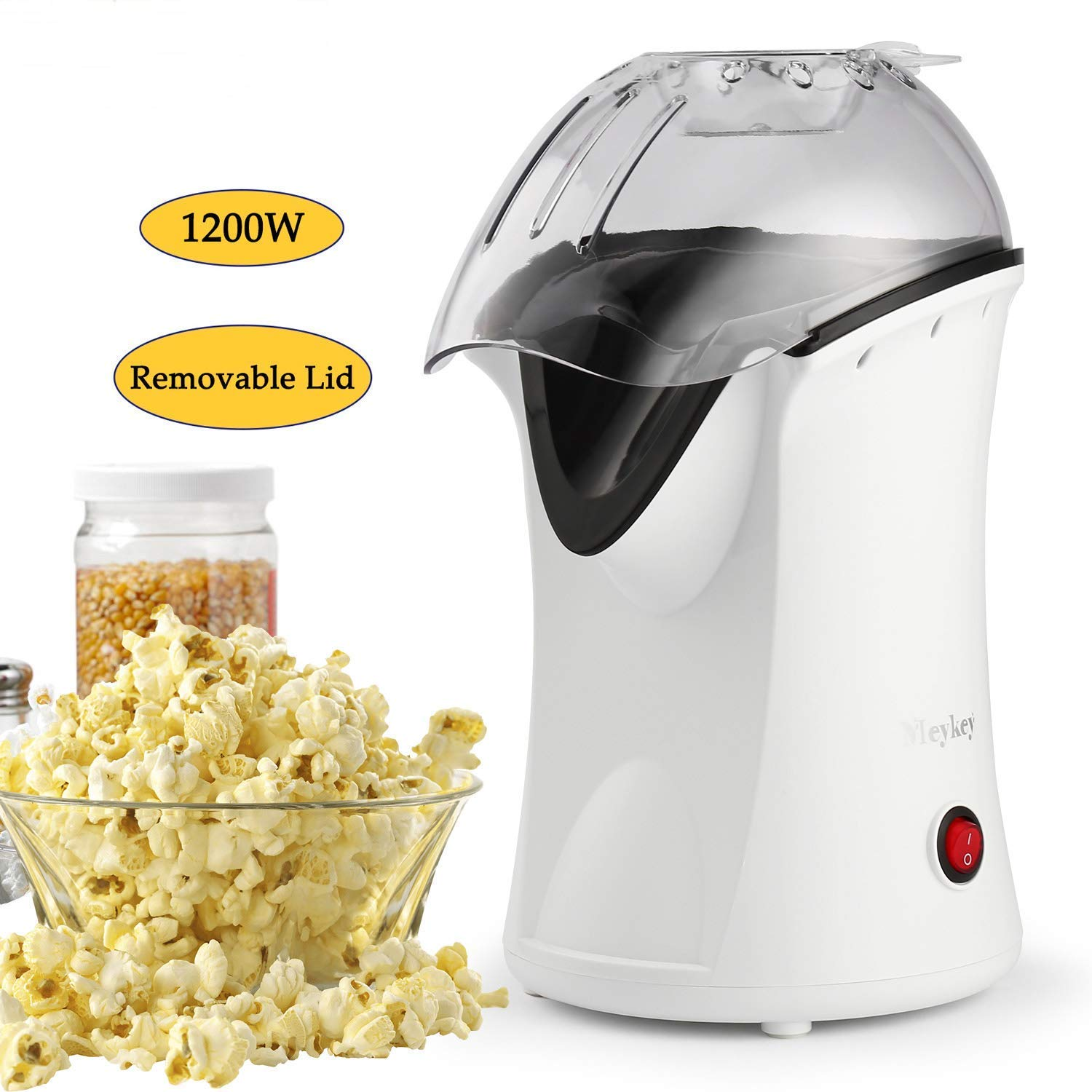 US STOCK 1200W Hot Air Popcorn Popper Electric Popcorn Machine Maker with Wide Mouth Design Measuring Cup and Removable Lid White