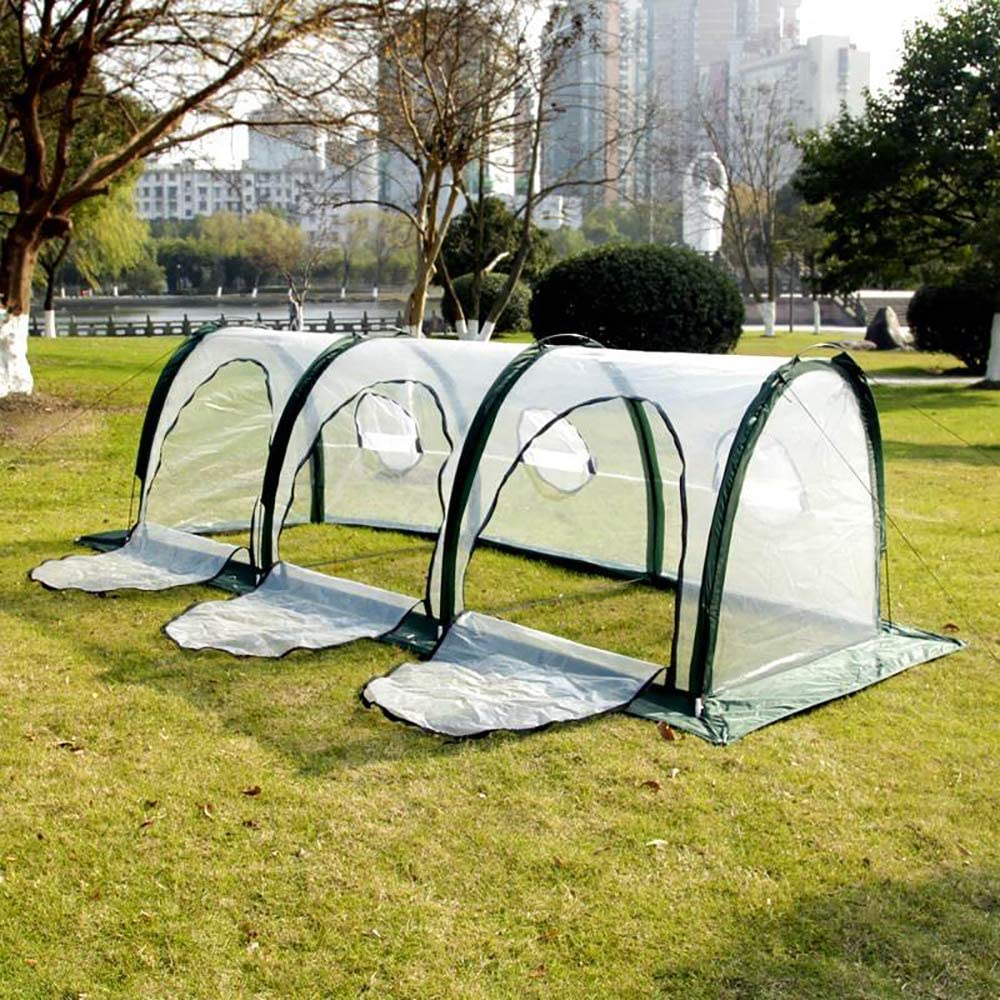 Garden Plant Tent,FOME PE Plant Tunnel Waterproof Durable Cloche Greenhouse for Plants Outdoor Portable Greenhouses with Small Zipper Doors Backyard Flower Shelter 27.627.631.5 inch