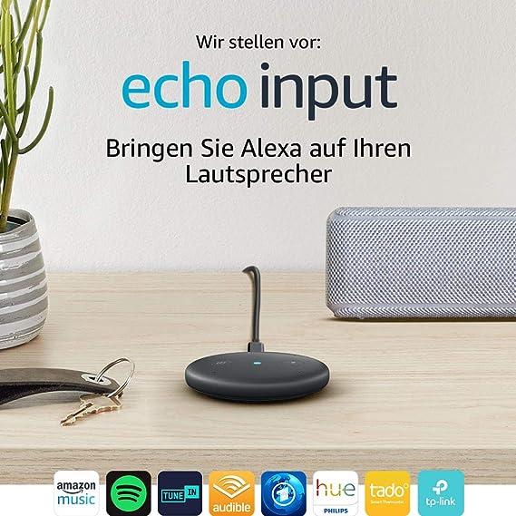 Echo Input (Schwarz) – Bringen Sie Alexa auf Ihren Lautsprecher – Externer Lautsprecher mit 3,5-mm-Audioeingang oder Bluetoot
